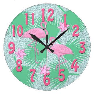 熱帯フラミンゴの時計 ラージ壁時計