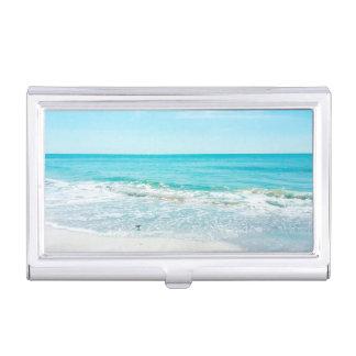 熱帯フロリダのビーチの砂の海洋波のシギ 名刺入れ