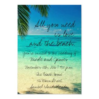 熱帯フロリダのビーチ結婚式の招待 カード