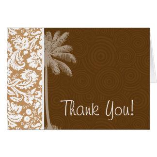 熱帯ブラウンのダマスク織パターン カード