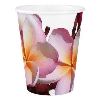 熱帯プルメリアの花の花の紙コップ 紙コップ