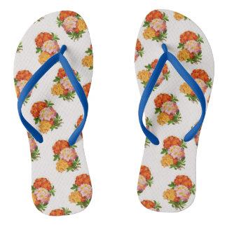 熱帯プルメリア花パターンビーチサンダル ビーチサンダル