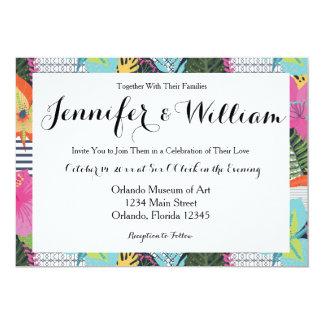熱帯モダンで写実的な花の結婚式招待状 カード