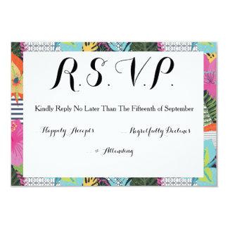 熱帯モダンで写実的な花の結婚RSVPカード カード