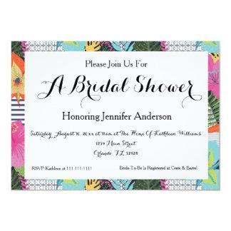 熱帯モダンな花のブライダルシャワーの招待状 カード