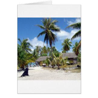 熱帯モルディブのやし果樹園の掘っ建て小屋 カード