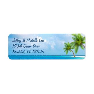 熱帯ヤシの木のビーチの住所 ラベル