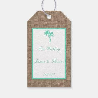 熱帯ヤシの木のビーチ結婚式のコレクション ギフトタグパック