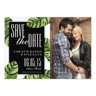 熱帯ヤシの木のビーチ結婚式の保存日付 12.7 X 17.8 インビテーションカード