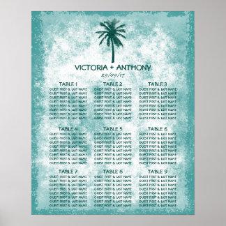 熱帯ヤシの木のビーチ結婚式の座席の図表 プリント