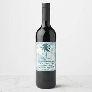 熱帯ヤシの木のビーチ結婚式は感謝していしています ワインラベル