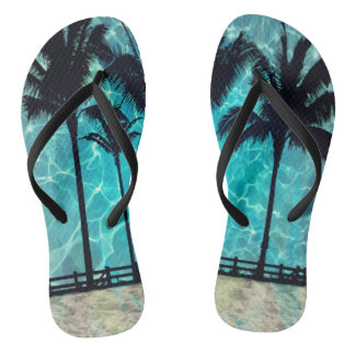 熱帯ヤシの木の夏のおもしろいのビーチサンダル ビーチサンダル