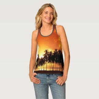 熱帯ヤシの木の日没のタンクトップ タンクトップ