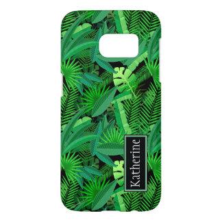 熱帯ヤシの木の葉は|あなたの名前を加えます SAMSUNG GALAXY S7 ケース