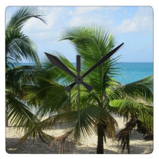 熱帯ヤシの木 スクエア壁時計