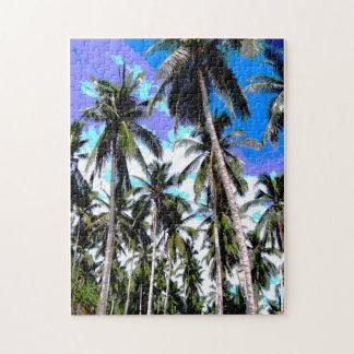 熱帯ヤシの木。 Posterisedの設計 ジグソーパズル
