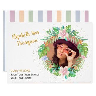 熱帯リースの卒業の写真カード カード