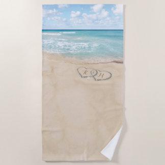 熱帯ヴィンテージのビーチのハートの海岸のモノグラム ビーチタオル
