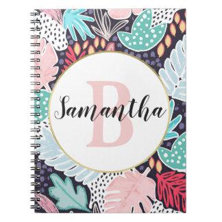 熱帯切り出しの形のモノグラムのなノートを着色して下さい ノートブック