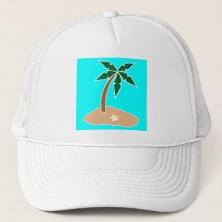 熱帯地方のサンディの島のヤシの木 キャップ