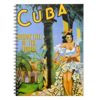 熱帯地方旅行ポスターのキューバの休日の島 ノートブック