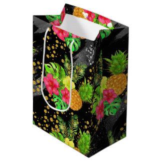 熱帯夏のグリッター ミディアムペーパーバッグ