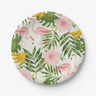 熱帯夏のフラミンゴの紙皿 ペーパープレート