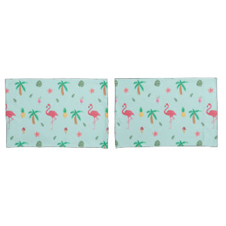 熱帯夏のフラミンゴの青い寝室のコレクション 枕カバー