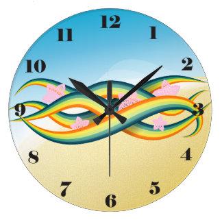 熱帯夏の島の触手 ラージ壁時計