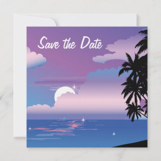 Tropical Night Save the Date Wedding Invitat