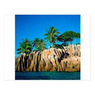 熱帯島によって見つけられるセイシェル ポストカード
