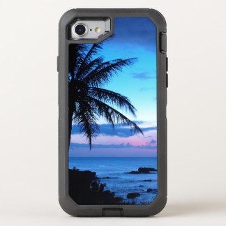 熱帯島のビーチの海のピンクの青い日没の写真 オッターボックスディフェンダーiPhone 8/7 ケース