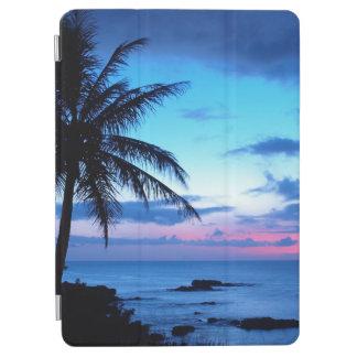 熱帯島のビーチの海のピンクの青い日没の写真 iPad AIR カバー