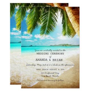 熱帯島のビーチ結婚式の招待状 カード