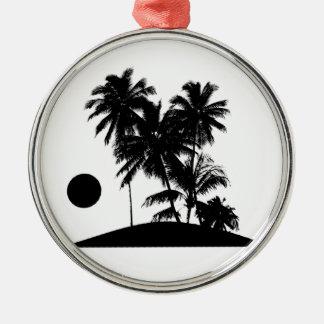 熱帯島の日没場面絵 メタルオーナメント