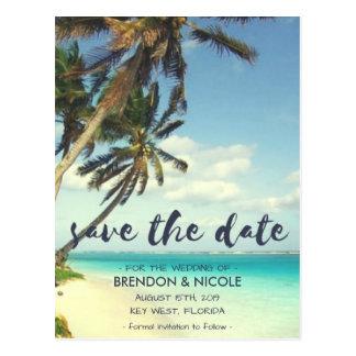 熱帯微風のビーチ結婚式の保存日付 ポストカード
