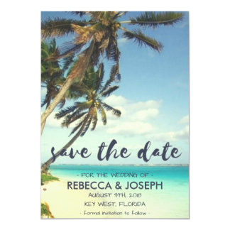 熱帯微風のビーチ結婚式の保存日付 12.7 X 17.8 インビテーションカード
