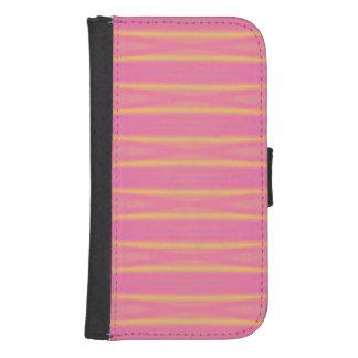 熱帯抽象的なパステル調ピンク、黄色のストライプ ウォレットケース