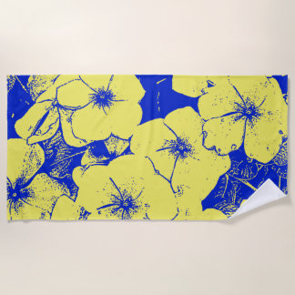 熱帯抽象的な花 ビーチタオル