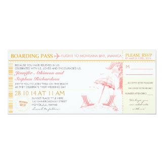 熱帯搭乗券-結婚式招待状及びRSVP カード