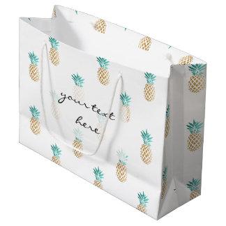 熱帯新しい夏の金ゴールドホイルのパイナップルパターン ラージペーパーバッグ