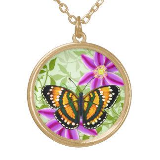 熱帯日光の黄色の蝶ペンダント ゴールドプレートネックレス