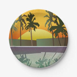 熱帯日没の景色、ヤシの木 ペーパープレート