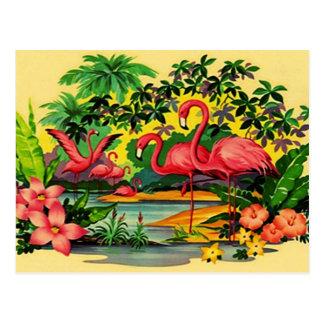 熱帯森林郵便はがきのかわいらしいピンクのフラミンゴ ポストカード