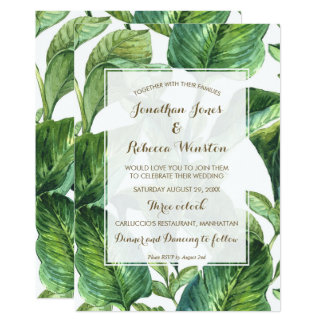 熱帯植物のシュロの葉の結婚式招待状 12.7 X 17.8 インビテーションカード