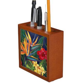 熱帯楽園のハワイの花の机のオルガナイザー ペンスタンド