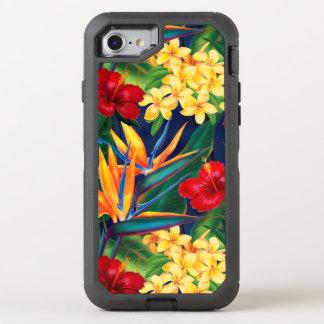 熱帯楽園のハワイアンの花柄 オッターボックスディフェンダーiPhone 8/7 ケース