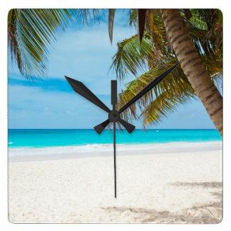 熱帯楽園のビーチ スクエア壁時計