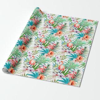 熱帯楽園のフラミンゴ花の葉 ラッピングペーパー