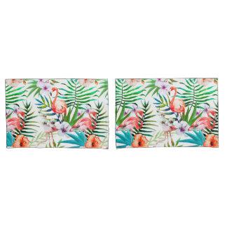 熱帯楽園のフラミンゴ花の葉 枕カバー
